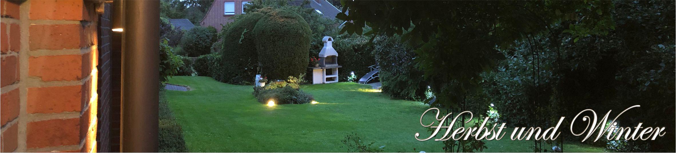 unser Garten im Abendlicht